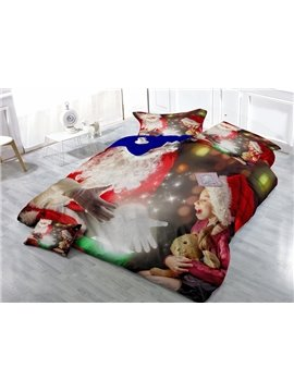 Shining Christmas Gift Print Satin Drill 4-Piece Duvet Cover Sets