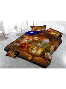 Marvelous Christmas Decoration Print Satin Drill 4-Piece Duvet Cover Sets