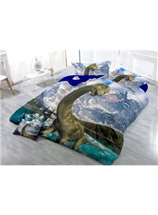Lifelike 3D Dinosaur Printed Satin Drill 4-Piece Duvet Cover Sets
