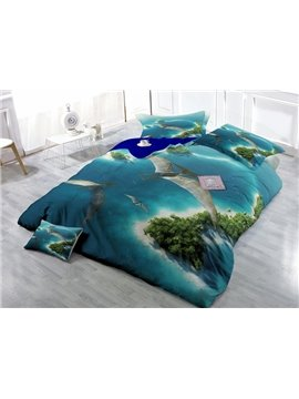 Pterosaur and Green Island Print Satin Drill 4-Piece Duvet Cover Sets