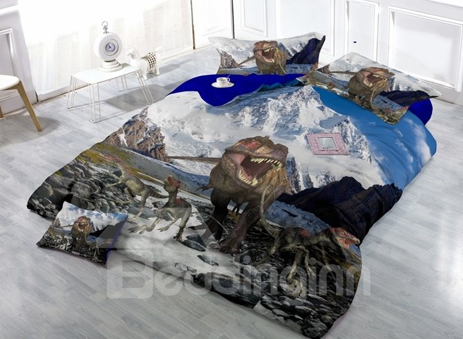 Stunning Dinosaur and Snow Mountain Print 4-Piece Duvet Cover Sets