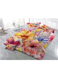 Pastoral Style Floral Print Satin Drill 4-Piece Duvet Cover Sets