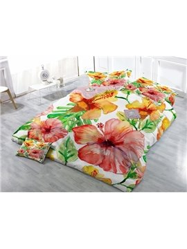 Excellent Multi-colored Flower Print Satin Drill 4-Piece Duvet Cover Sets