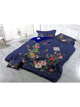 Butterfly and Flower Print Satin Drill 4-Piece Duvet Cover Sets