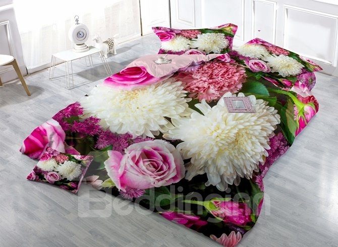 Elegant Chrysanthemum and Rose Print 4-Piece Duvet Cover Sets