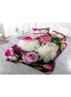 Elegant Chrysanthemum and Rose Print 4-Piece Duvet Cover Sets