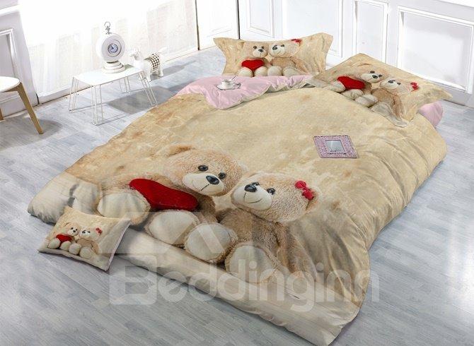Adorable Bear Doll Print Satin Drill 4-Piece Duvet Cover Sets