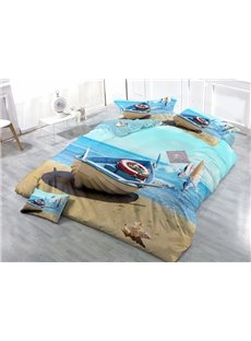 Wooden Boat on Sandy Beach Print Satin Drill 4-Piece Duvet Cover Sets