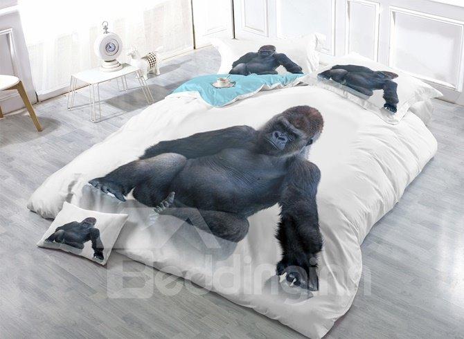 Black Orangutan Print Satin Drill 4-Piece Duvet Cover Sets