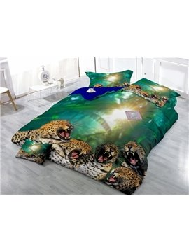 Leopard Family Digital Printing Satin Drill 4-Piece Duvet Cover Sets