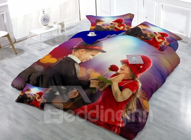 Little Boy Giving a Rose to Girl Print 4-Piece Duvet Cover Sets