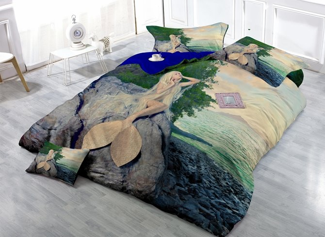 Mysterious Mermaid Print Satin Drill 4-Piece Duvet Cover Sets