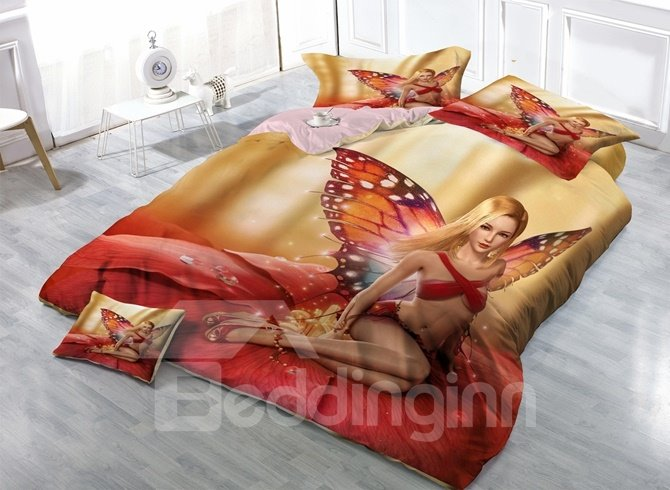 Fairy with Butterfly Wings Print Satin Drill 4-Piece Duvet Cover Sets