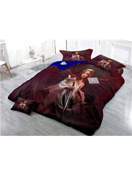 Fantasy Girl with Sword Print Satin Drill 4-Piece Duvet Cover Sets
