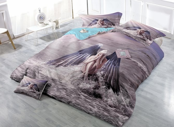 Fantasy Girl with Angel Wings Print Satin Drill 4-Piece Duvet Cover Sets