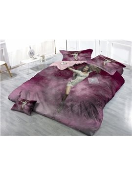 Dancing Girl Print Satin Drill 4-Piece Duvet Cover Sets
