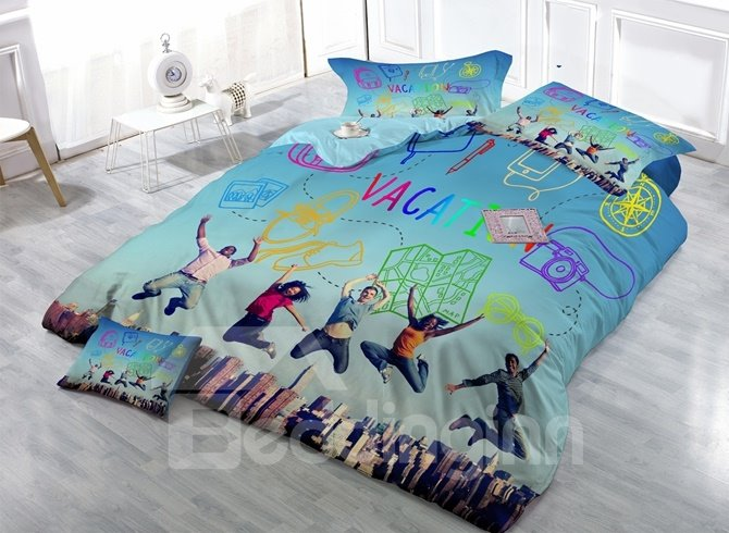 Relaxing Vacation Digital Printing Satin Drill 4-Piece Duvet Cover Sets