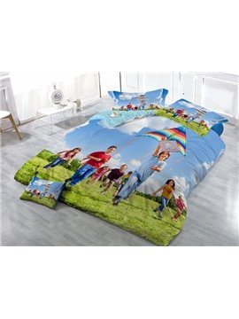 Kite Flying Digital Printing Satin Drill 4-Piece Duvet Cover Sets