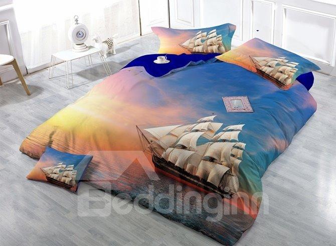 Sunset Ocean Sailing Ship Print Satin Drill 4-Piece Duvet Cover Sets