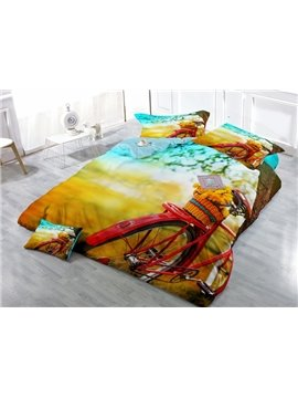 Chic Bike Digital Printing Satin Drill 4-Piece Duvet Cover Sets