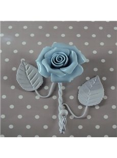 Fresh Simple Style Iron Blue Roses Shape Wall Hook
