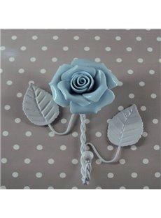 Fresh Simple Style Iron Blue Roses Shape Wall Hook