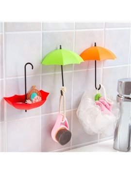 Cute Plastic Umbrella Shape 3 Pieces Home Decorative Wall Hooks