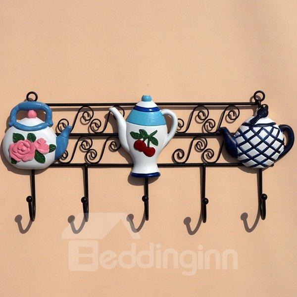 Fashion Design Black Iron With Teapot Pattern Decorative Wall Hooks