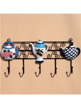 Fashion Design Black Iron With Teapot Pattern Decorative Wall Hooks