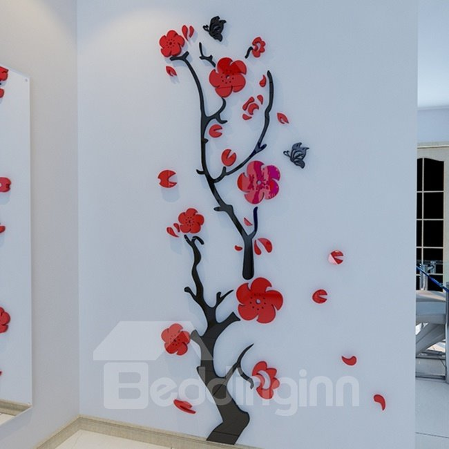 Amazing Stunning Plum Flower and Butterfly Pattern 3D Wall Stickers