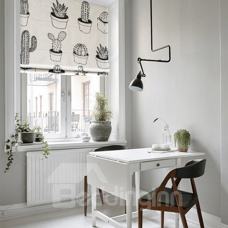 Concise Black and White Concise Printing Flat-Shaped Roman Shades