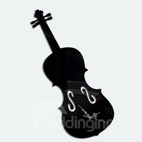 Wonderful Acrylic Mirror Room Silent Violin Pattern Decorative Wall Clock