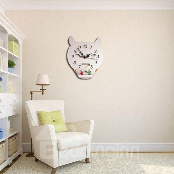 Three Colors Acrylic Leopard Head Pattern Design Room Silent Battery Wall Clock