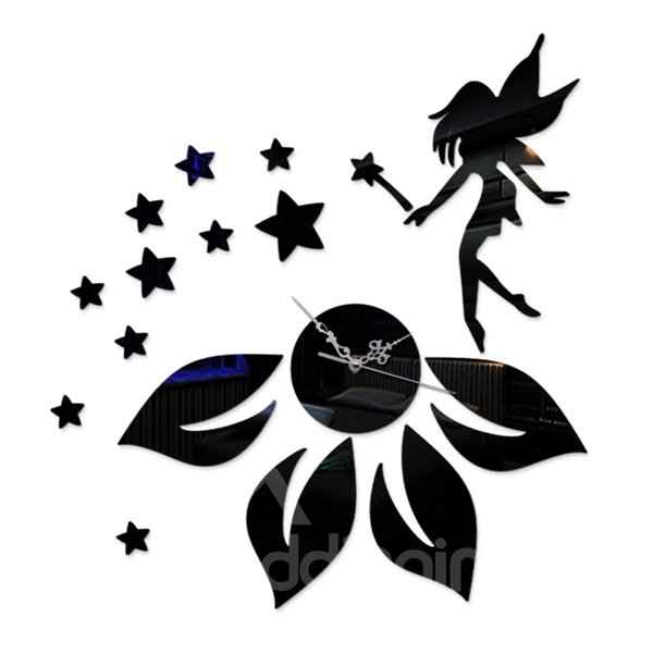 Fancy Fairy Girl Standing on the Flower with Many Stars Pattern Acrylic Wall Clock