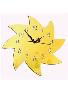 Simple Style Acrylic Windmill Pattern Design Digital Home Decorative Wall Clock