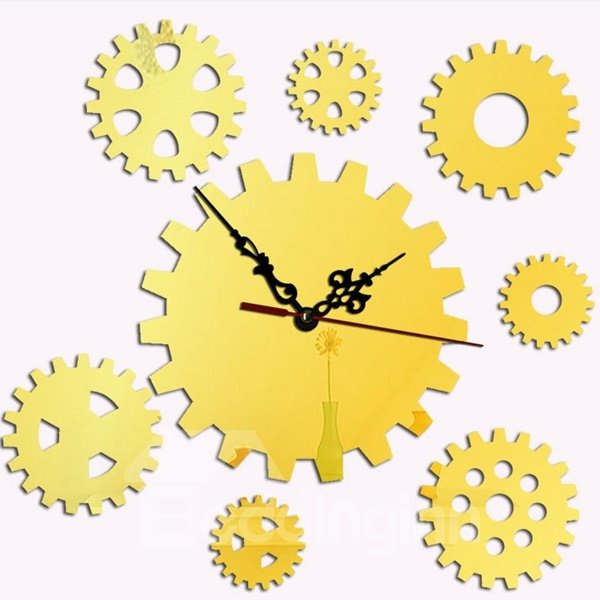 Distinctive Acrylic Gear Pattern Home Decorative Room Silent Wall Clock