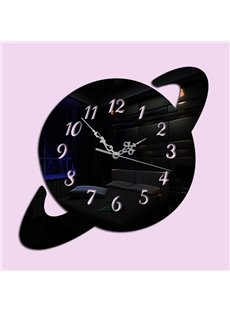 Black Acrylic 3D DIY Room Silent Universe Decoration Design Wall Clock