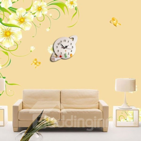 Black Acrylic 3D DIY Room Silent Universe Decoration Design Wall Clock