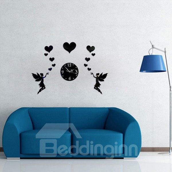 Warm Two Beautiful Fairies and Hearts Decoration Design Room Silent Wall Clock
