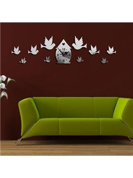 Country Style Acrylic 3D DIY Birds Decoration Design Room Silent Battery Wall Clock