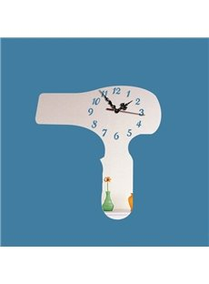 Acrylic 3D DIY Room Silent Hair Drier Pattern Design Battery Digital Wall Clock