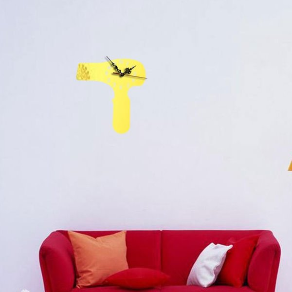 Acrylic 3D DIY Room Silent Hair Drier Pattern Design Battery Digital Wall Clock