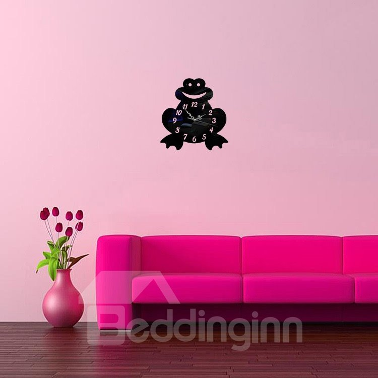 Amusing Acrylic 3D DIY Smile Frog Design Room Silent Battery Wall Clock