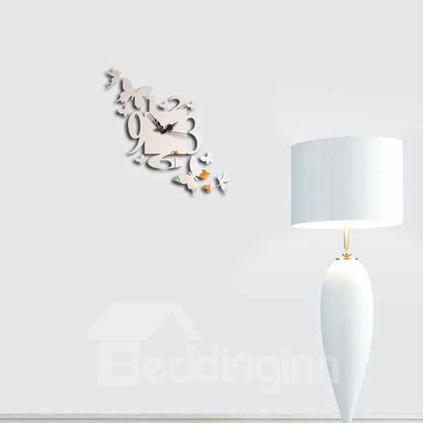 Unique Design Acrylic 3D DIY Butterfly and Digital Design Frameless Wall Clock