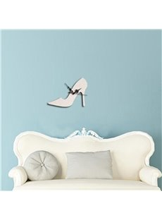 Modern Fashion Acrylic Mirror 3D DIY High-heeled Shoe Design Wall Clock