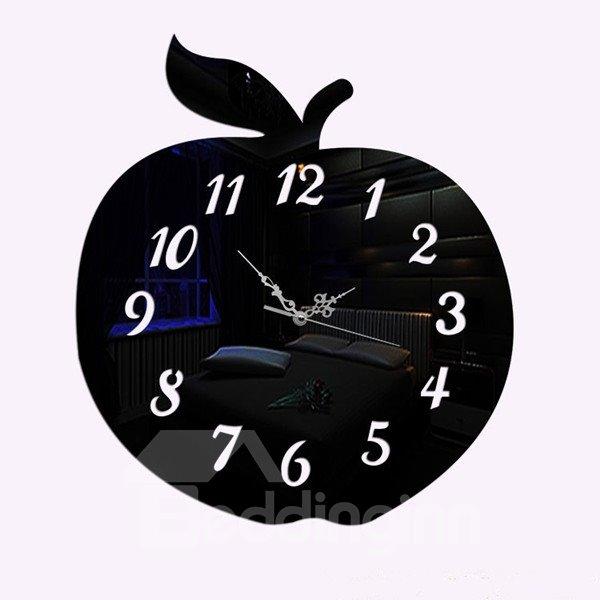 Creative DIY Acrylic Apple Shape Room Silent Decorative Wall Clock