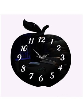 Creative DIY Acrylic Apple Shape Room Silent Decorative Wall Clock