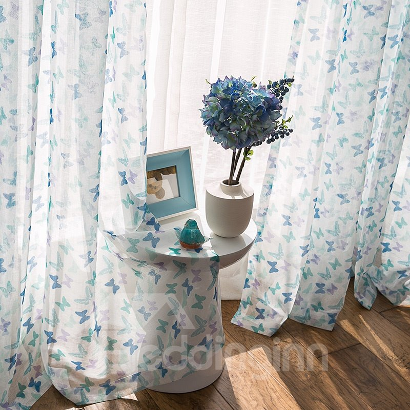 Super Cute Colored Butterfly Printing Custom Sheer Curtain
