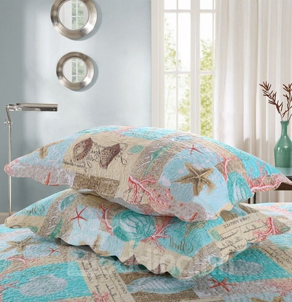 Likable Starfish and Shell Print Cotton 3-Piece Bed in a Bag