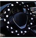 Cost-Effective Spotted Style Plush Material Universal Car Steering Wheel Cover